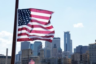 Skyline with flag